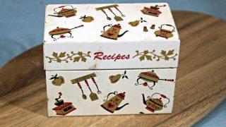 Vintage Recipe Box 3 - White Tin Box