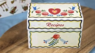 Vintage Recipe Box 4 - White Tin Box With Hearts & Flowers