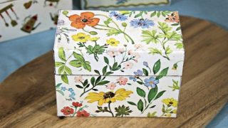 Vintage Recipe Box 5 - White White Tin Box With Flowers