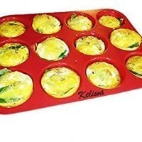 Keliwa 12 Cup Silicone Muffin - Cupcake Baking Pan / Non - Stick Silicone Mold / Oven - Microwave - Dishwasher Safe Safe