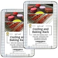 """Cooling Baking & Roasting Racks for Quarter Sheet Size Pans - 100% Stainless Steel Wire Racks for Cooking - Dishwasher & Oven Safe, Rust Resistant, Heavy Duty by Ultra Cuisine (8.5"""" x 12"""" - Set of 2)"""