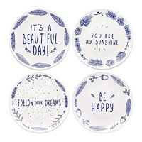 """Begonia Home 8"""" Blue Ceramic Dessert Salad Plates with Sayings (Set of 4) Dishwasher and Microwave Safe, Best Gift, Multicolor"""