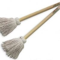 """12"""" BBQ Basting Mops for Roasting or Grilling, Apply Barbeque Sauce, Marinade or Glazing, Cotton Fiber Head and Natural Hardwood Handle, Dish Mop Style, Perfect for Cooking or Cleaning - Pack of 2"""